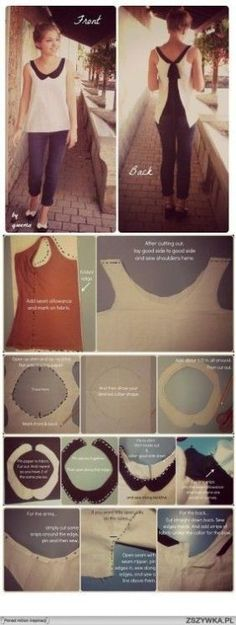 DIY clothing high low tank, peter pan collar, contrasting black and white sewing project