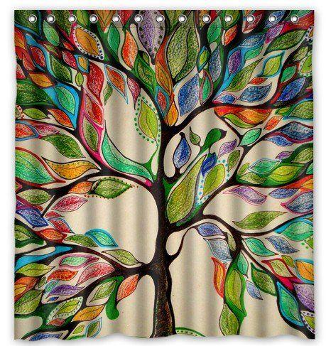 "AmazonSmile - Tree of Life Gorgeous Like Leather 66""(w) x 72""(h) Bath Shower Curtain -"