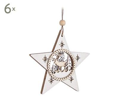 Set de 6 adornos para colgar Estrella - blanco