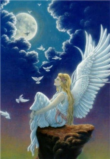 """When I was seventeen and beginning to wonder what I was going to do with my life, I started dreaming about angels. Night after night they would come to me softly, so softly that I could never quite... —April Stevens, ✨ """"Angel, Angel"""" ✨"""