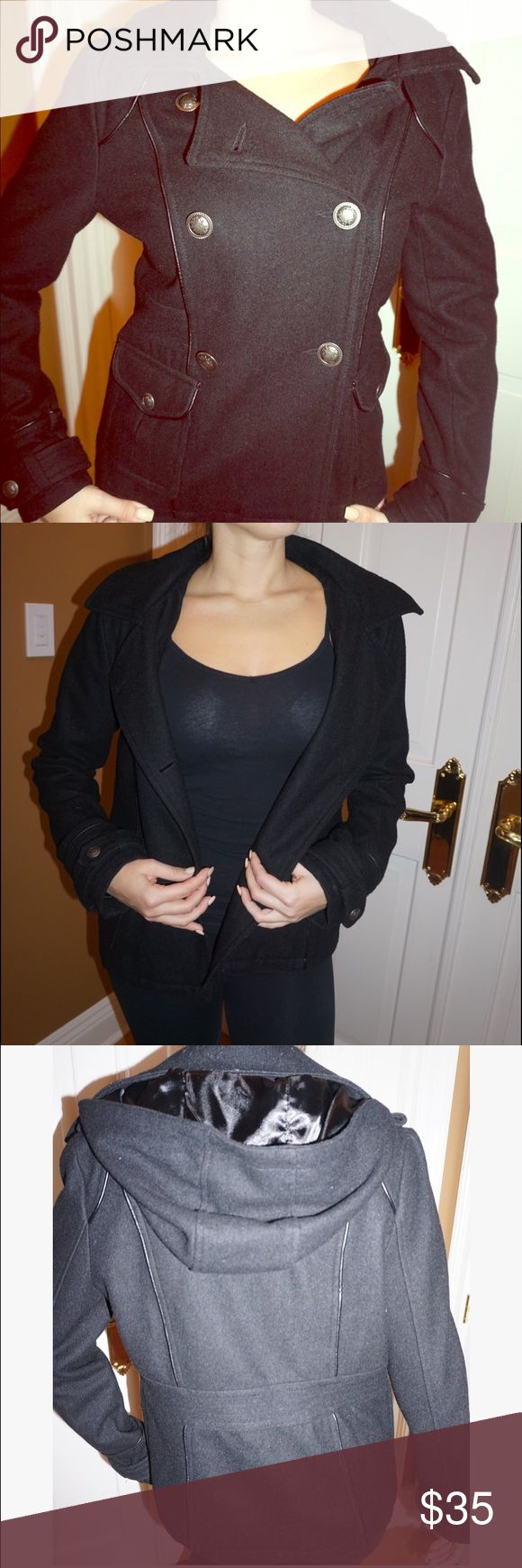 Black Pea Coat 🖤 Very cute black pea coat. In very good condition. Stylish and warm. Worn only a few times. Buttons up the front. Pockets in front that button. Hood attached with buttons- can be removed. Jackets & Coats Pea Coats