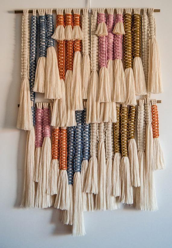 "Macrame Wall Hanging / ""Stripes"" Fiber Art / Macrame Wall Art / Woven Wall Hanging / Wall Art / Ranr"