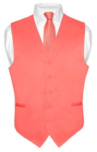 Men's Dress Vest NeckTie Set CORAL PINK Neck Tie for Suit or Tuxedo $19.95