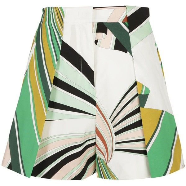 Printed a Line Shorts ($443) ❤ liked on Polyvore featuring shorts, short, skirts, pants, bottoms, a-line shorts, emilio pucci shorts, short shorts, emilio pucci and pleated shorts