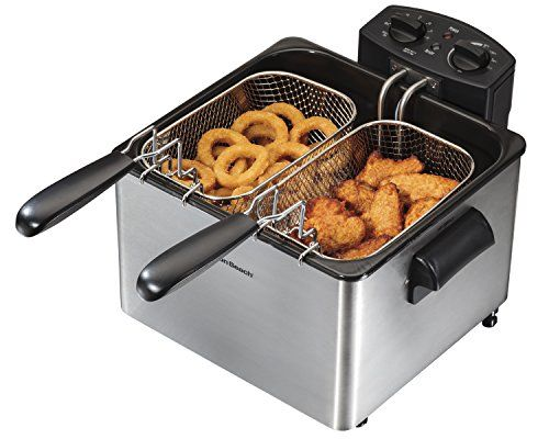 Hamilton Beach 35034 Professional-Style Deep Fryer, Silver  Hamilton Beach Deep Fryers are generously sized for greater versatility — some even accommodating a whole chicken. What's more, you can fry crispy, mouth-watering foods without the mess you've come to expect. Food can be lowered into hot oil and lifted out while the lid is closed for splatter-free frying. Hamilton Beach Deep Fryers also feature adjustable heat and convenient timers. Hamilton Beach Consumer Deep Fryers for th..