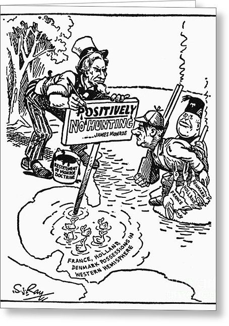 Monroe Doctrine Cartoon Greeting Card by Granger