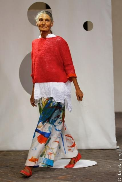 Daniela Gregis: Bright colours warm up your skin tone and bold printed trousers exhibits the youthful inner you.