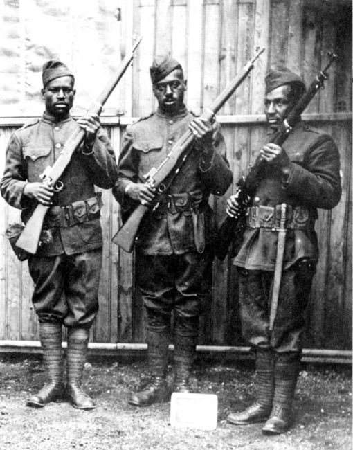 Three African-American soldiers during World War I. Exact date unknown; probably from Brinkley, Arkansas