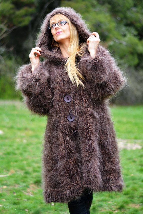 PRÊT à la main tricoté mohair Manteau mohair chunky cardigan fait main en mohair…