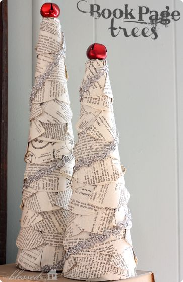 DIY Book Page Christmas Trees