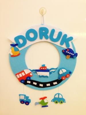 Felt baby gift, hospital room decoration ideas, new baby room decorations, Keçe Kapı Süsü,Doruk'un Kapı Süsü - gulsumo