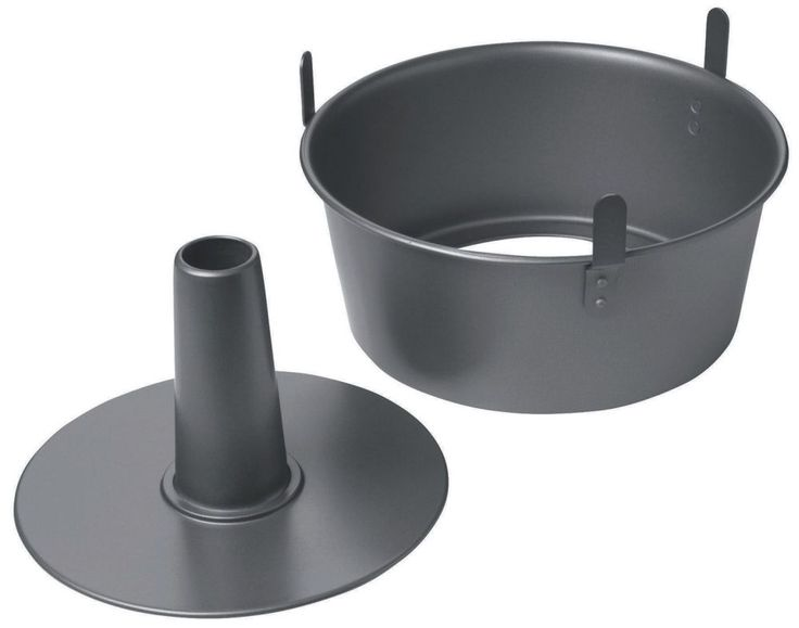 2 piece Angel Food Cake Tin with loose base from Chicago Metallic.  Non stick pan for easy release. 24cm diameter Heavy duty construction When pan is inverted, feet allow cake to cool with air circulating underneath for easy release Dishwasher safe   Capacity: 3.8L/ 16 cups     Use & Care   Before use, wash with warm soapy water. Sharp-edged utensils and knives should not be used on non-stick surfaces. Avoid ...