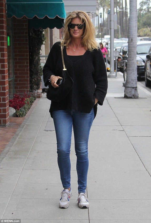 Supermodel style: Rachel Hunter opted for a casual look that highlighted her svelte figure as she stepped out in Los Angeles on Friday to run errands