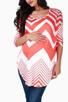 Orange & White Chevron Maternity Top from Pink Blush Maternity