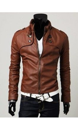 Slim-fit, men's jacket with front zip closure and button detail. Also available in Black.
