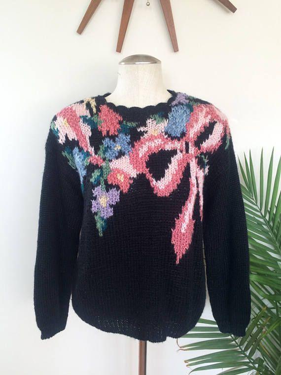 Black Floral Knit Pullover Sweater by Mz Jones Boudoir
