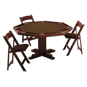 Kestell Furniture 57'' Maple Pedestal-Base Poker Table Set