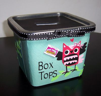 Learning In Wonderland: Recycled Box Tops Container