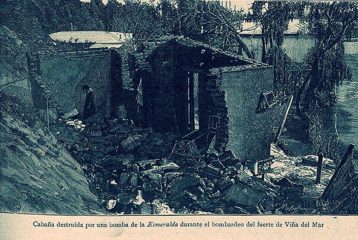 https://flic.kr/p/x9wGgw | Vivienda destruida por una bomba del Esmeralda durante el bombardeo a Fuerte de Viña del Mar. | De acuerdo a la pagina de la Armada, después de la derrota de Concón, el día 22 entre las 19.30 horas y las 01.00 horas del día 23, las fuerzas gobiernistas, que se habían reforzado con tropas traídas de Concepción y de Santiago, tomaron posición en los cerros en forma de semicírculo, que corren en la ribera sur del estero Marga Marga y cierran el camino a Valparaíso…