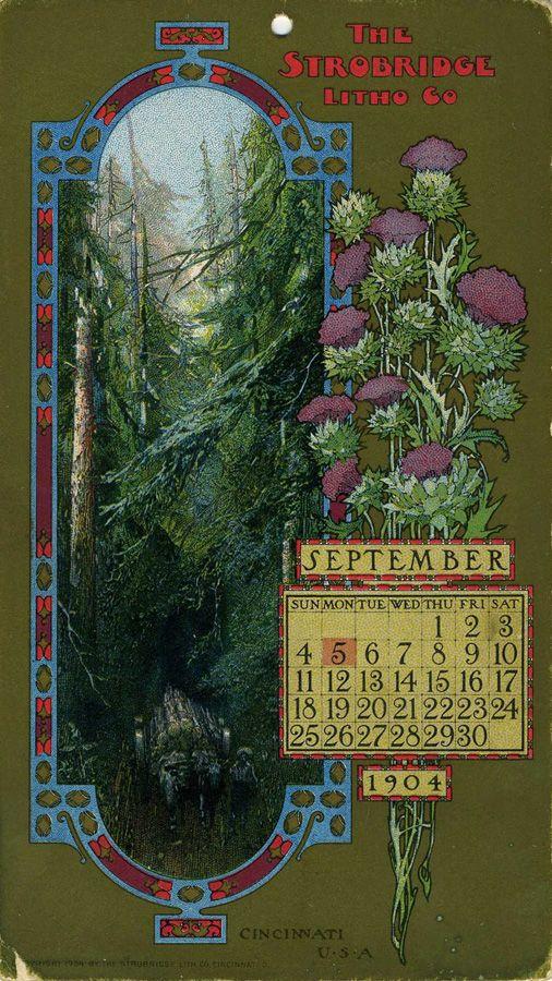 September 1904, Strobridge Lithographing Company, from the Strobridge Calendar Card Samples, 1899-1912.