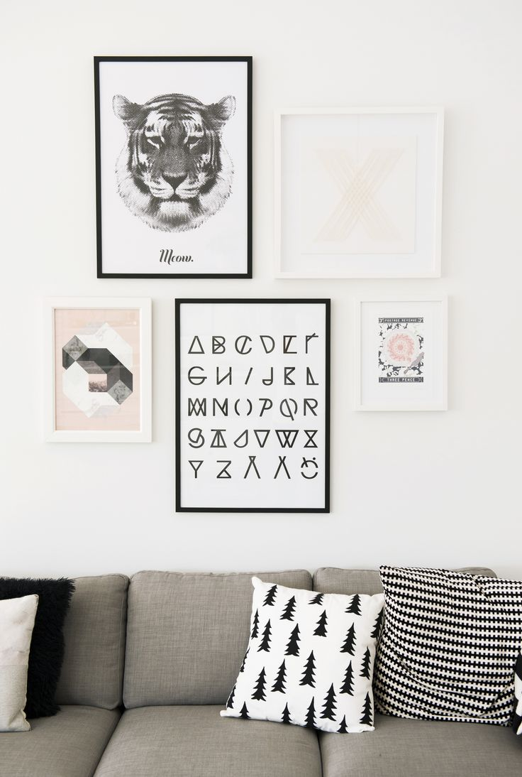 Gray, Black And White Pillows And Frames