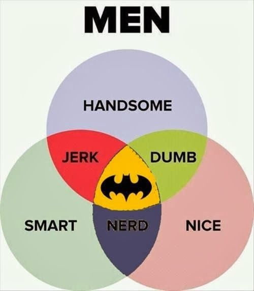 Men Handsome Jerk Dumb Smart Nerd Nice Batman ~ Joke All You Can