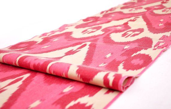Crimson Silk Ikat Fabric By The Yard Modern Upholstery Fabric