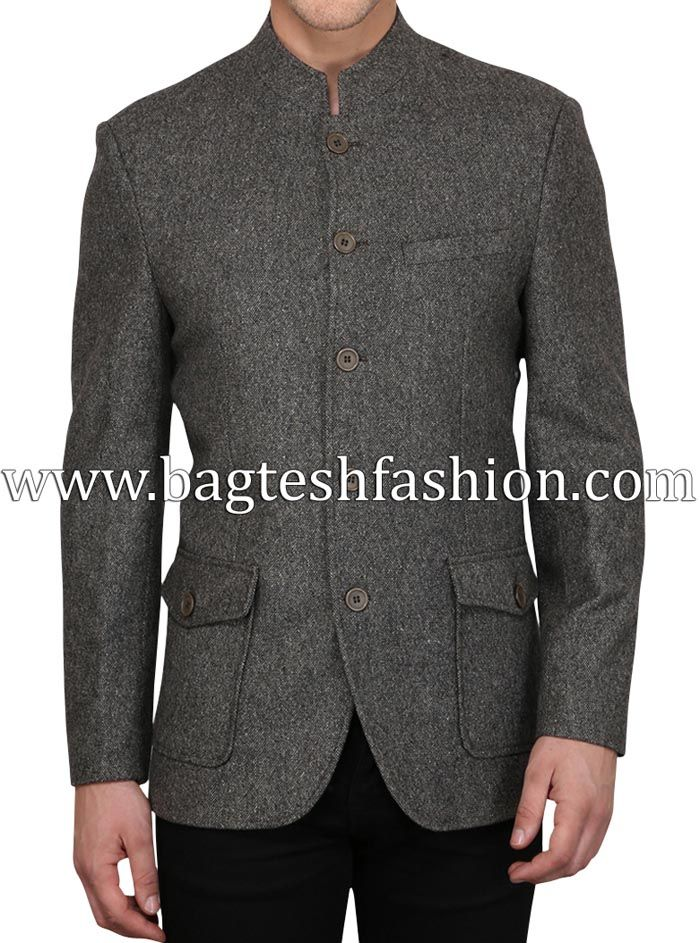 Classic Dark Gray Wool Banded Collar Coat