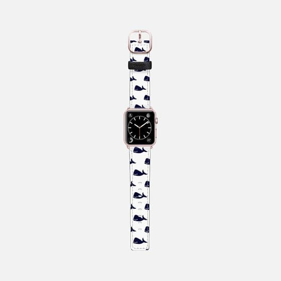 Casetify Apple Watch Band (38mm) Saffiano Leather Watch Band - Cute Little Navy Blue Nautical Whales Animals Pattern on White Background by BlackStrawberry