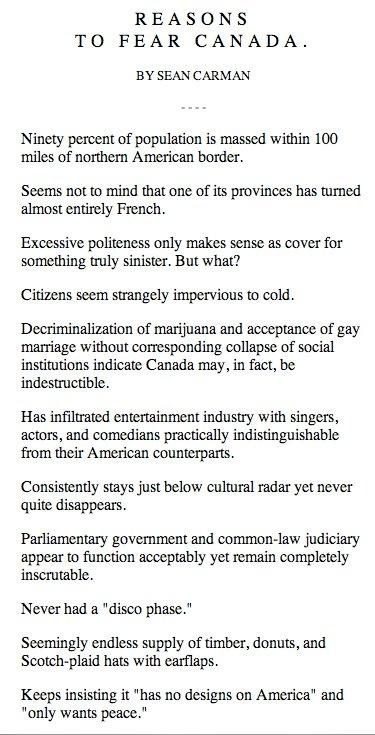 reasons to fear Canada.: Fear Canada, Canada Eh, Random, Disco Phase, Funny Stuff, Things, Reasons, Canadian Eh