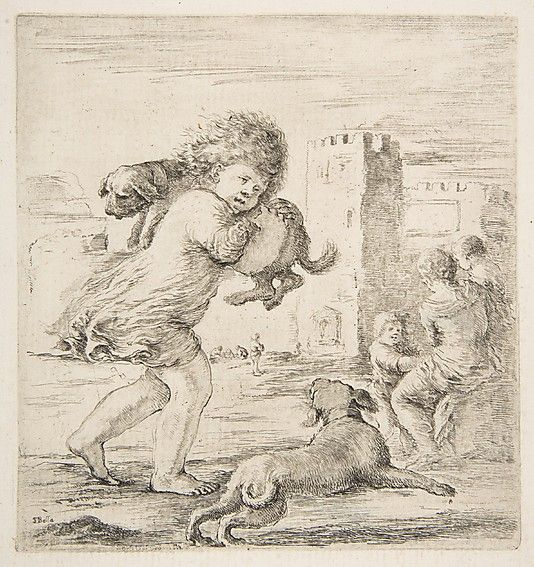 Stefano della Bella  (Italian,1610–1664) | Child Carrying a Puppy on his Shoulder | ca. 1662 | The Metropolitan Museum of Art, New York | The Elisha Whittelsey Collection, The Elisha Whittelsey Fund, 1967 | 67.553.10 #dogs