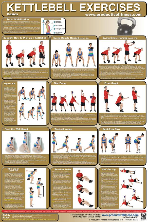 Kettlebell Chart/Poster - $24.95 -  This full-color poster features 12 Kettlebell exercises for working the whole body, chest, back and legs. All exercises are clearly explained with step-by-step instructions and descriptive photos. #Kettlebell #Poster #Chart #Exercise
