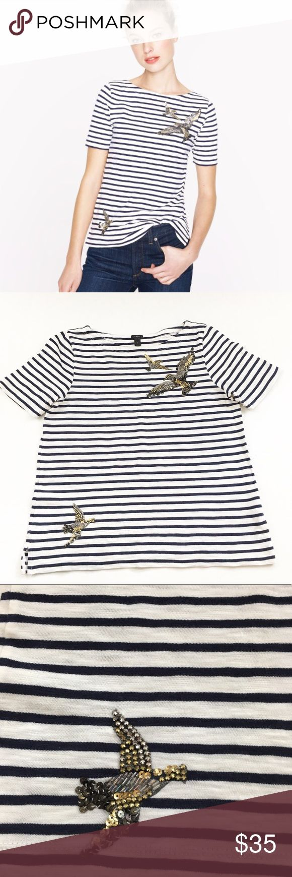 """J. Crew Sequins Bird Top Size M Navy and white striped short sleeve top with sequin bird appliqués at hem and neckline. VGUC showing only light wash wear. 100% Cotton. Armpit to Armpit-18 1/2""""▪️Shoulder to Hem-23 1/2"""". J. Crew Tops Tees - Short Sleeve"""