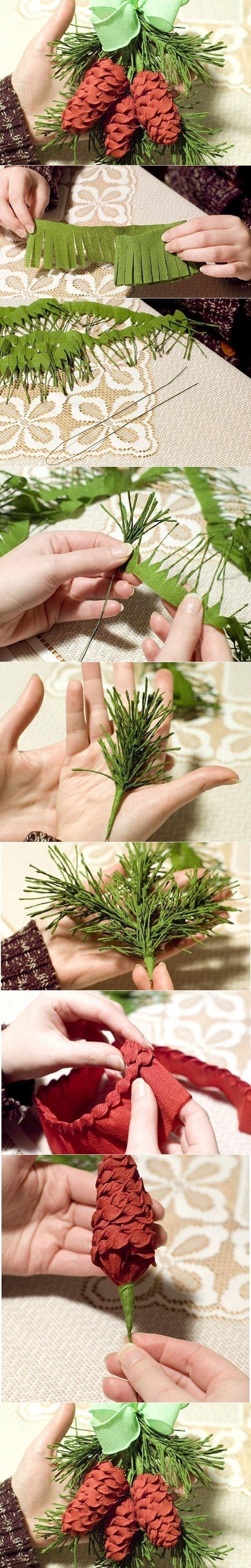 DIY Crepe Paper Pine Cone with Fir Leaf | www.FabArtDIY.com LIKE Us on Facebook ==> https://www.facebook.com/FabArtDIY