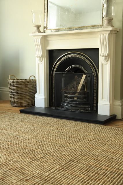 Our English Fireplaces William IV mantelpiece in our Modern Country Living Room with Next jute rug. Click through for details: http://moderncountrystyle.blogspot.co.uk/2016/05/how-ive-used-perfect-jute-modern.html
