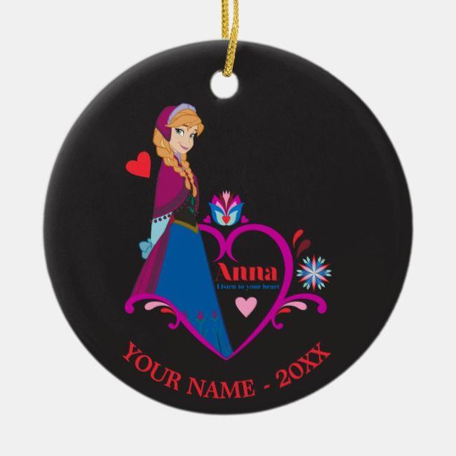 Anna Pink Heart Add Your Name Ceramic Ornament Zazzle Com Disney Christmas Ceramic Ornaments Ornaments