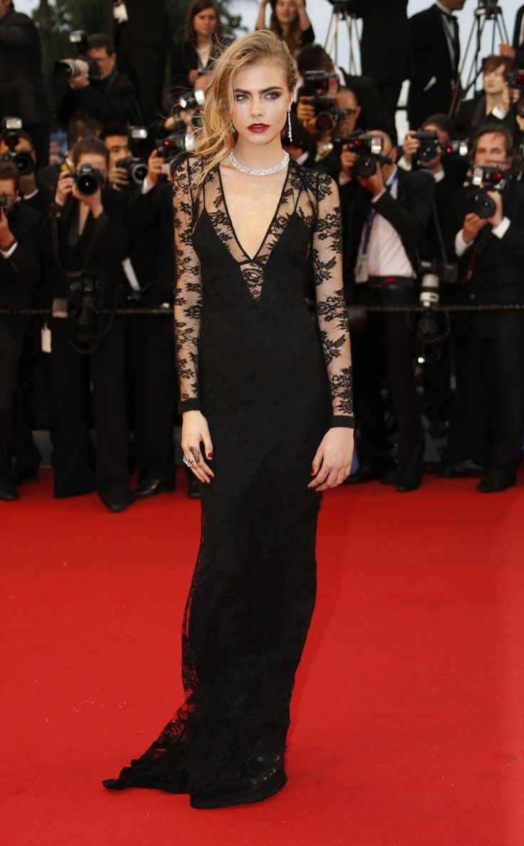 Cara Delevingne in lace Burberry dress at The Great Gatsby Premiere. Cannes 2013.