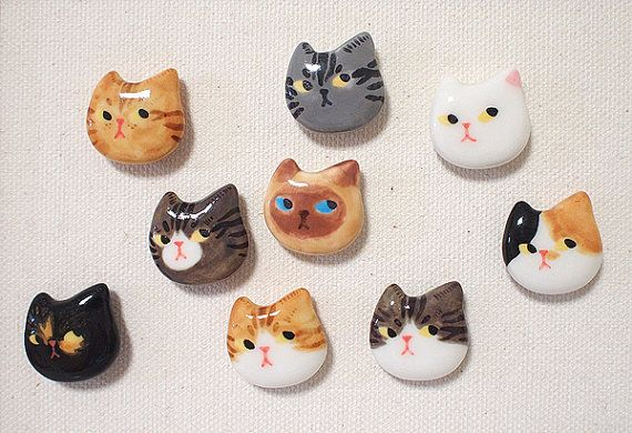 Cute ceramic magnets  Cat by StudioMew on Etsy