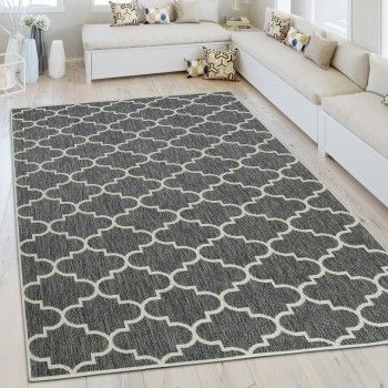 In-  Outdoor Teppich Marokkanisches Muster Grau Balkon ideen - teppich wohnzimmer grau