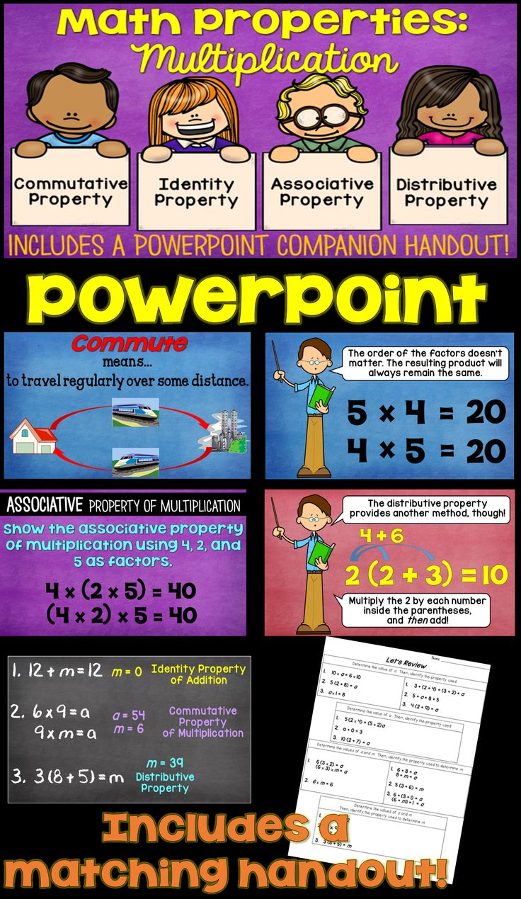 commutative properties Discusses the commutative, associative, and distributive properties (or 'laws'), including how to keep the names straight demonstrates how to recognize the properties in use.