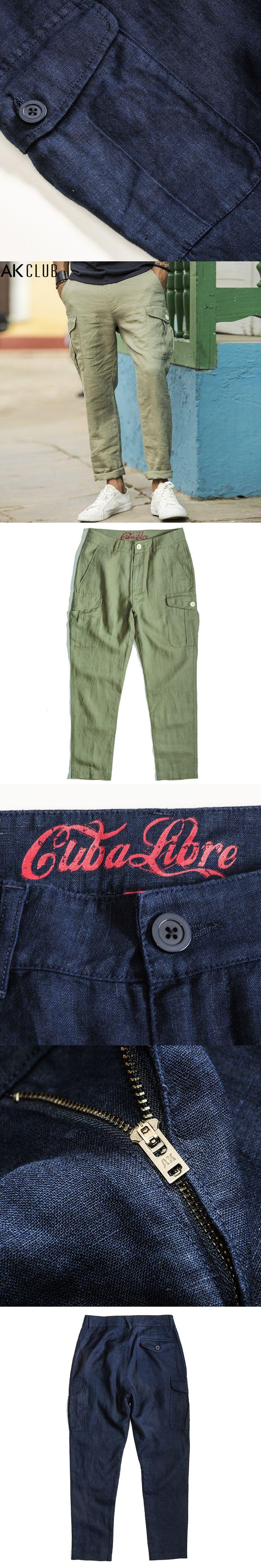 AK CLUB Men Linen Pants Cuba Libre Series New Pocket Harem Pants Jogger Legging Casual Pants Full Length Men Pants Baggy 1712033