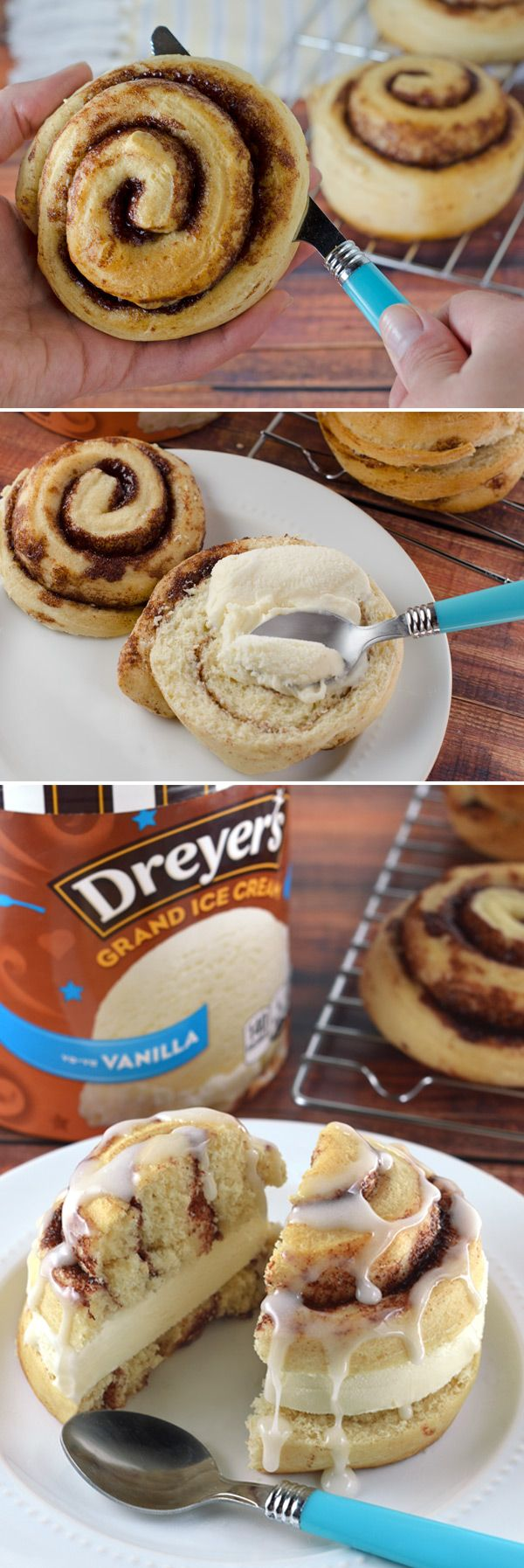 Dreyer's Cinnamon Roll Ice Cream Pie: Turn a breakfast dessert into something extraordinary with this simple, cinnamony-sweet ice cream treat! Just spread Dreyer's vanilla ice cream between warm cinnamon roll halves and slice into wedges for a single-serving dessert the whole family can enjoy!
