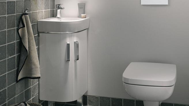 un meuble d angle pour gagner de la place dans la salle de bains lieux photos et angles. Black Bedroom Furniture Sets. Home Design Ideas