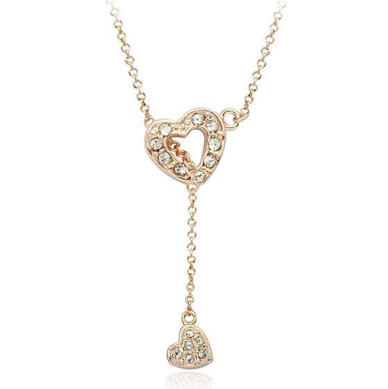 Мода ювелирные изделия панк стиль два сердца лучший друг золото сердца ожерелье