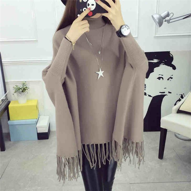 High Quality New Casual Turtleneck Batwing Sleeve Sweater