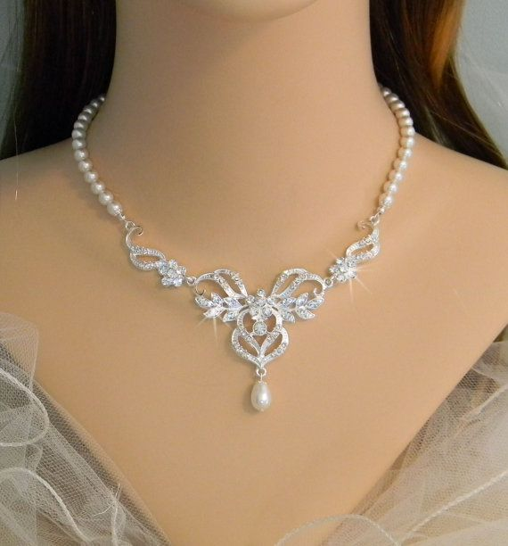 Bridal Jewelry SET Wedding Jewelry Pearl Bridal Necklace Crystal Necklace