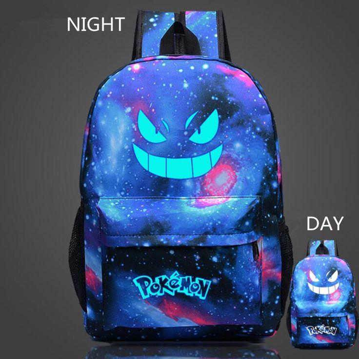 Pokemon Gengar Backpack Anime Luminous Printing School Bag for Teenagers Cartoon Travel Bags Nylon Mochila Galaxia t81