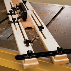 Jig fits directly into miter slots for quick, easy setup and adjustability.