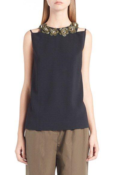 FENDI Floral Embellished Crepe Sable Blouse. #fendi #cloth #