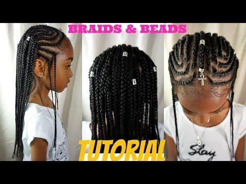 KIDS NATURAL HAIR STYLES | BRAIDS & BEADS TUTORIAL (ALICIA KEYS/ FULANI INSPIRED) - YouTube